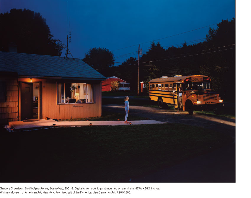 Gregory Crewdson, Untitled (beckoning bus driver), 2001-2. Digital chromogenic print mounted on aluminum, 47-9⁄16 x 59-1⁄2 inches. Whitney Museum of American Art, New York. Promised gift of the Fisher Landau Center for Art. P.2010.300.
