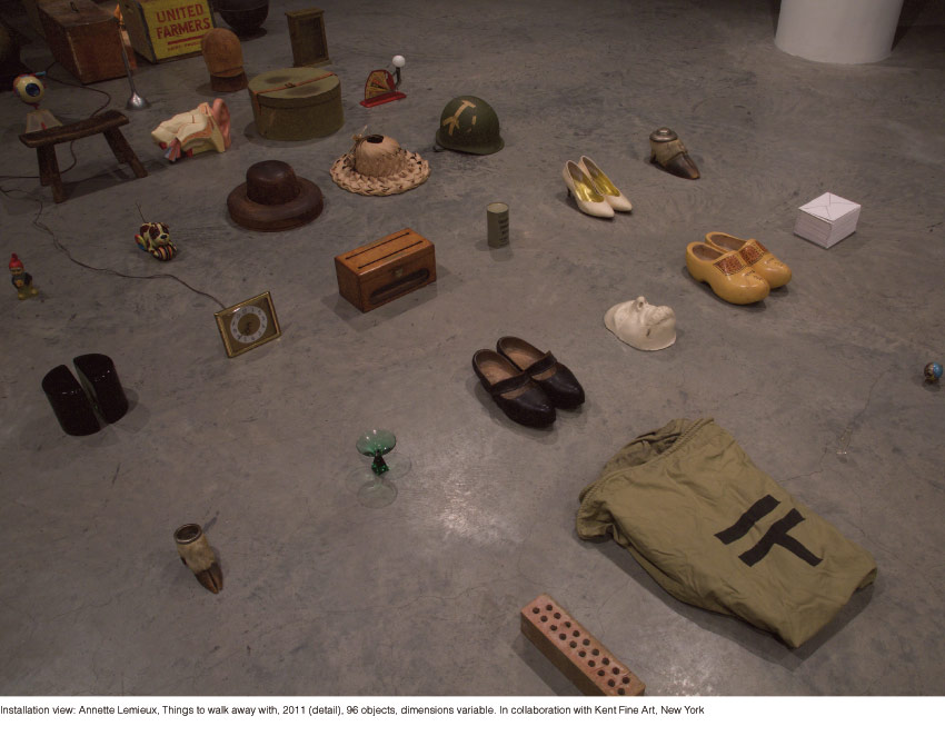 Annette Lemieux, Things to walk away with, 2011 (detail), 96 objects, dimensions variable. In collaboration with Kent Fine Art, New York