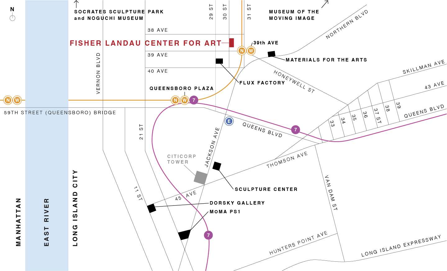 map of Long Island City cultural attractions