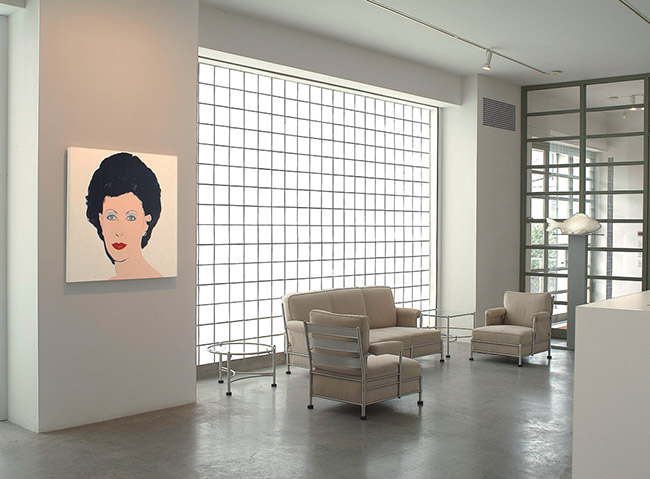 Fisher Landau Center for Art lobby, showing Andy Warhol's, Portrait of Emily Fisher Landau, 1984. © Andy Warhol Foundation for the Visual Arts / ARS, New York