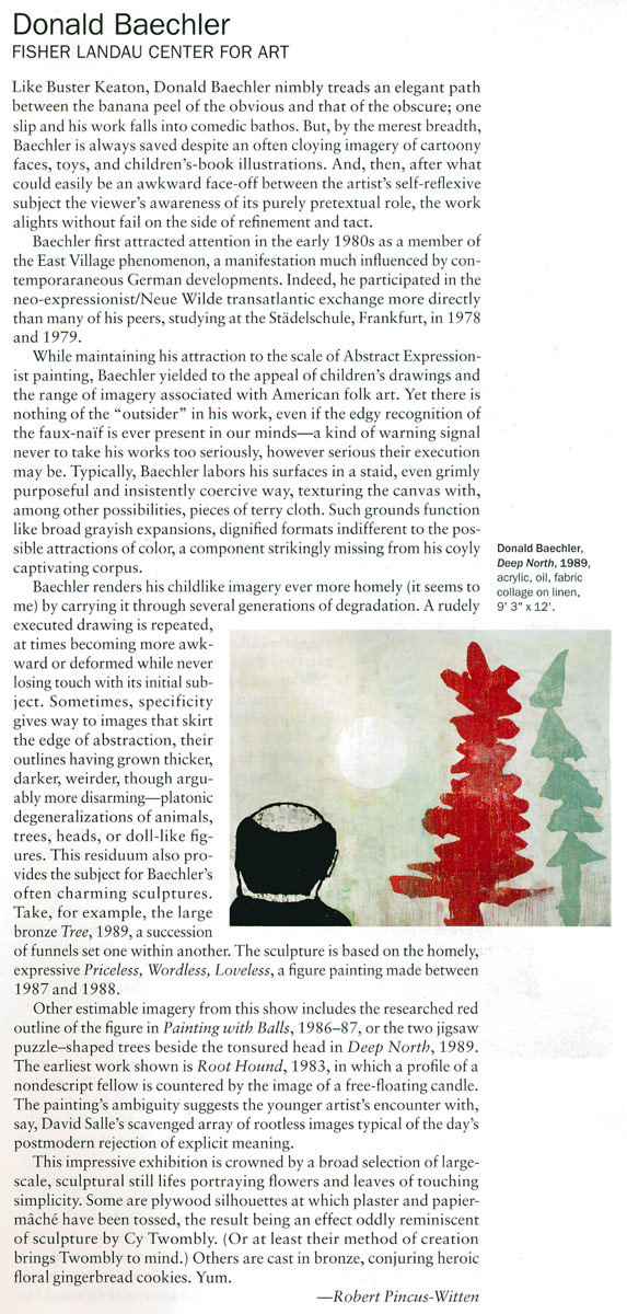 Artforum, 2012, exhibition review by Robert Pincus-Witten